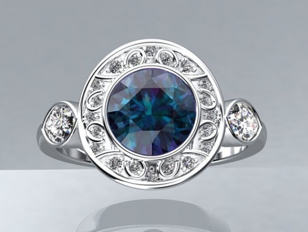 Victorian inspired 14k White gold Engagement Ring Fashion Ring 1