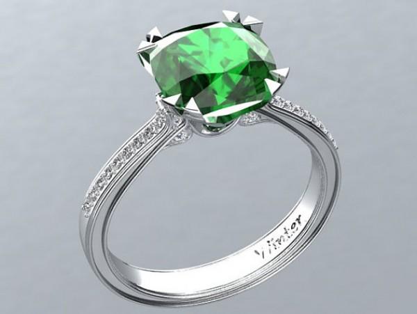 Victorian inspired 14k white gold Engagement Ring Diamond Ring 2