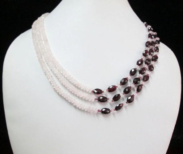 rose quartz beaded necklace