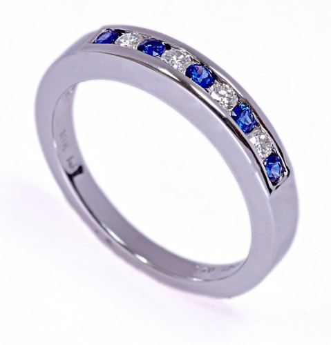 Blue Sapphire Engagement Band in White Gold With Icy Diamond